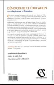 Démocratie et éducation ; expérience et éducation - 4ème de couverture - Format classique