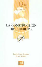 La construction de l'Europe (4e édition) (4e édition) - Intérieur - Format classique