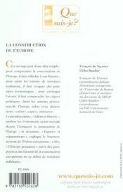 La construction de l'Europe (4e édition) (4e édition) - 4ème de couverture - Format classique