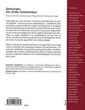Dictionnaire des droits fondamentaux - 4ème de couverture - Format classique