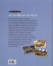 Automobile les 100 belles du siecle - 4ème de couverture - Format classique