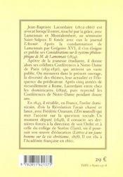 Lacordaire De A A Z, Dans Ses Soixante-Treize Conferences De Notre-Dame De Paris - 4ème de couverture - Format classique