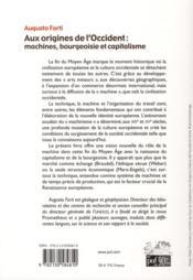 Aux origines de l'occident : machines, bourgeoisie et capitalisme - 4ème de couverture - Format classique