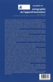 Actualités en échographie de l'appareil locomoteur T.8 - 4ème de couverture - Format classique