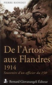De l'Artois aux Flandres ; 1914 ; souvenirs d'un officier du 158e - Couverture - Format classique