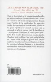 De l'Artois aux Flandres ; 1914 ; souvenirs d'un officier du 158e - 4ème de couverture - Format classique