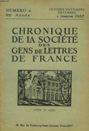 CHRONIQUE DE LA SOCIETE DES GENS DE LETTRES DE FRANCE N°4, 92e ANNEE ( 4e TRIMESTRE 1957) - Couverture - Format classique