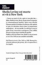 Sheila Levine est morte et vit à New York - 4ème de couverture - Format classique