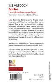 Sartre, rationaliste romantique - 4ème de couverture - Format classique