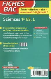 FICHES BAC T.23 ; sciences ; 1ère ES, L - 4ème de couverture - Format classique