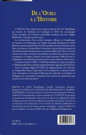 De l'oubli à l'histoire ; espace et identité caraïbes - 4ème de couverture - Format classique