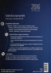 Code de la copropriété (édition 2016) - 4ème de couverture - Format classique