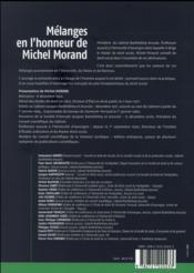 Mélanges en l'honneur de Michel Morand - 4ème de couverture - Format classique