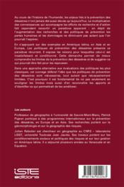 Les politiques de prévention des désastres ; penser et agir dans l'imperfection - 4ème de couverture - Format classique