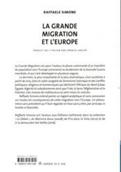 La grande migration et l'Europe - 4ème de couverture - Format classique