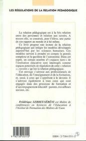 Les Regulations De La Relation Pedagogique - 4ème de couverture - Format classique