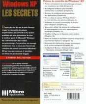 Windows xp ; les secrets - 4ème de couverture - Format classique