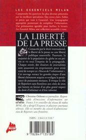 La liberte de la presse - 4ème de couverture - Format classique