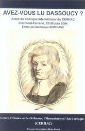 Avez-vous lu dassoucy ?. colloque international du cerhac, clermont-f errand, 25 et 26 juin 2004 - Intérieur - Format classique