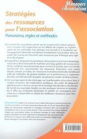 Strategies des ressources pour l'association. panorama, regles et methodes - 1ere ed. - 4ème de couverture - Format classique