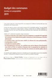 Budget des communes ; gestion et comptabilité (édition 2011) - 4ème de couverture - Format classique