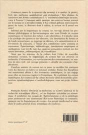 La mesure et le grain ; sémantique de corpus - 4ème de couverture - Format classique