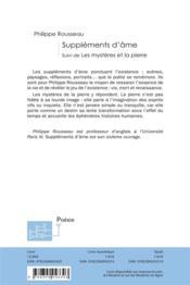 Suppléments d'âme ; les mystères et la pierre - 4ème de couverture - Format classique