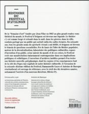 Histoire du festival d'Avignon - 4ème de couverture - Format classique
