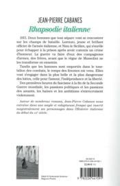 Rhapsodie italienne - 4ème de couverture - Format classique