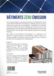 Bâtiments zéro émission ; solutions et mise en oeuvre - 4ème de couverture - Format classique