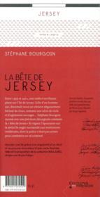 La bête de Jersey - 4ème de couverture - Format classique