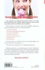 Maigrir, C'Est Dans La Tete - 4ème de couverture - Format classique
