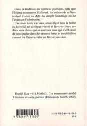Tombeau de georges perros - 4ème de couverture - Format classique