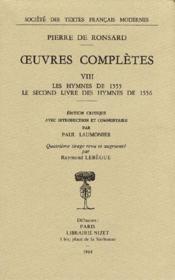 Oeuvres complètes t.8 ; les hymnes de 1555 - Couverture - Format classique