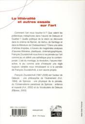 La littéralité et autres essais sur l'art - 4ème de couverture - Format classique
