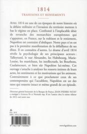 1814, trahisons et reniements - 4ème de couverture - Format classique