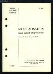Mensualisation. Accord national interprofessionnel (Loi n°78-49 du 19 janvier 1978). Textes d'intérêt général. - Couverture - Format classique