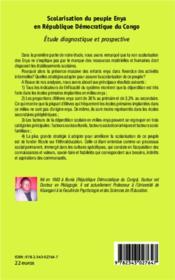 Scolarisation du peuple Enya en République Démocratique du Congo ; étude diagnostique et prospective - 4ème de couverture - Format classique