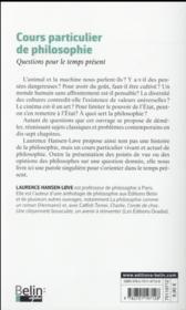 Cours particulier de philosophie ; questions pour le temps présent - 4ème de couverture - Format classique
