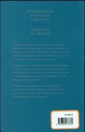 Psychologie pour les créatifs ; survivre au travail - 4ème de couverture - Format classique