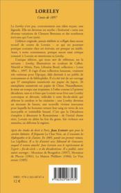 Loreley - conte de 1897 - 4ème de couverture - Format classique