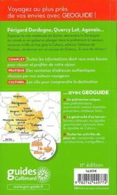 GEOguide ; Périgord, Dordogne ; Quercy Lot, Agenais - 4ème de couverture - Format classique