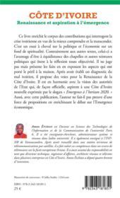Côte d'Ivoire ; renaissance et aspiration à l'émergence - 4ème de couverture - Format classique
