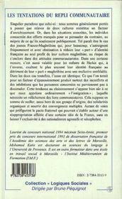 Les Tentations Du Repli Communautaire : Le Cas Des Franco-Maghrebins En General Et Des Enfants De Harkis En Particulier - 4ème de couverture - Format classique