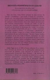 Identites Peripheriques En Albanie ; La Recomposition Du Milieu Rural Et Les Nouveaux Types De Rationalite Politique - 4ème de couverture - Format classique