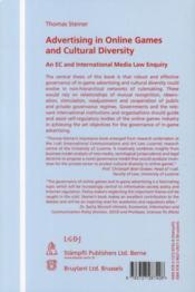 Advertising in online games and cultural diversity ; an EC and international media law enquiry - 4ème de couverture - Format classique