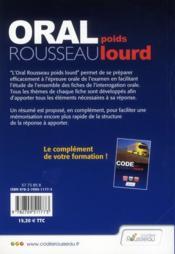 Code Rousseau oral poids lourd (édition 2011) - 4ème de couverture - Format classique