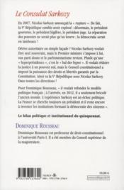 Le consulat Sarkozy - 4ème de couverture - Format classique