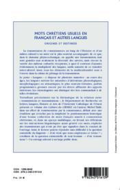 Mots chrétiens usuels en francais et autres langues ; origines et destinees - Couverture - Format classique