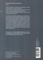 Histoire des idées politiques t.2 ; du XVIIIè siècle à nos jours(3ed) - 4ème de couverture - Format classique
